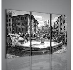 La celebre Piazza di Spagna a Roma immortalata in una splendida stampa su tela in bianco e nero. Un quadro che si presta ad essere utilizzato in qualsiasi contesto, in special modo in salotti ed uffici.