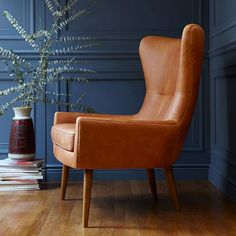 Mid-century style Erik leather wingback chair from West Elm Living Room Chairs, Living Room Furniture, Modern Furniture, Living Room Decor, Furniture Design, Dining Chairs, Dining Room, Luxury Furniture, Furniture Ideas