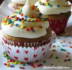 Gluten Free Gigi shares her recipe for homemade Gluten Free Fun-fetti Cupcakes, no cake mix needed! And these are also dairy-free, nut-free and soy-free!