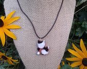 ceramic calico kitty necklace
