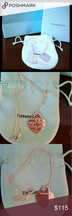 "Tiffany ""I love you"" Charm Neckcklace Although this necklace has been previously worn 2 twice, it is in great condition. There are no marks on the front of the charm, but when you see the back of the charm there are some light marks on it. Tiffany & Co. Jewelry Necklaces"