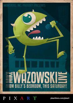 Mike Wazowski, Monsters Inc, Pixar, Pixart Disney Love, Disney Art, Disney Pixar, Disney Monsters, Monsters Inc, Monster University, Russel Up, Junior Mints, Tex Avery