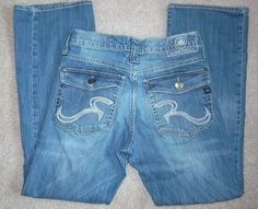 ROCK & REPUBLIC RIDER Distressed Whickered Button Flap Pockets Mens Jeans 29 30 #RockRepublic #BootCut