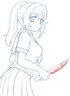 a sketch of Yandere-chan from yandere simulator. oh that& ketchup don& worry. Animes Yandere, Yandere Anime, Tsundere, Drawing Anime Bodies, Manga Drawing, Anime Drawings Sketches, Anime Sketch, Yandere Simulator, Yandere Girl