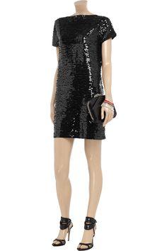 Towering skyscraper heels mandatory.    DKNY  Sequined cotton mini dress  Original price £236.29 NOW £99.37 55% off