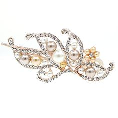 Gold Finish Bridal Pearl and Rhinestone Butterfly Hinged Hair Claw Clip Champagne ** Read more reviews of the product by visiting the link on the image.