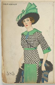 1912 Mela Koehler Mode (Fashion) published by Wiener Werkstätte. The Met, colour lithograph, Museum Accession, transferred from the Library Accession Number: Fashion Images, Fashion Art, Edwardian Fashion, Vintage Fashion, Twiggy, Renaissance, Illustration Mode, Art Deco Posters, Victorian Women
