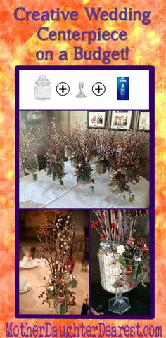 Creative wedding centerpiece on a budget....…using dollar store products, nature and imagination!!
