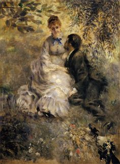 This ready to hang, gallery-wrapped art piece features a man and woman sitting together in grass. Pierre Renoir was a French painter originally associated with the Impressionist movement. He was one o