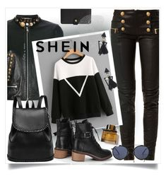 """""""Pullover #shein"""" by victoria-dimeska ❤ liked on Polyvore featuring Balmain, Dolce&Gabbana, Ray-Ban and Burberry"""