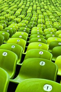 #Green seats in Olympiastadion, the stadium located at the heart of the Olympiapark, Munich, Germany. The stadium was built as the main venue for the 1972 Summer Olympics.