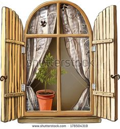 Vector illustration of Old window with wooden frame, curtains and plant in ceramic pot - stock vector