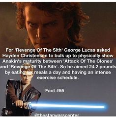 He is more muscular in Revenge of the Sith. Also his voice is deeper, I noticed. Star Wars Meme, Star Wars Facts, Star Trek, The Force Is Strong, Bad Feeling, Love Stars, Reylo, Fun Facts, Movie Facts
