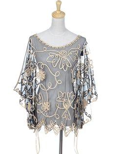 Amazon.com: Anna-Kaci S/M Fit Sheer Black Batwing Blouse w Swirling Golden Flower Design: Clothing