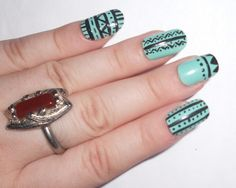 Aztec Toe Nail Designs - Nails which are well taken care of make a positive impact on your personality. Aztec Nail Designs, Toe Nail Designs, Nail Art Diy, Cool Nail Art, Hot Nails, Hair And Nails, Aztec Nails, Spring Nail Art, Spring Nails