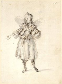 Costume study for a sylph, formerly in an album; standing to front, with l hand on her hip and r arm extended Pen and brown ink, with grey wash, over black chalk