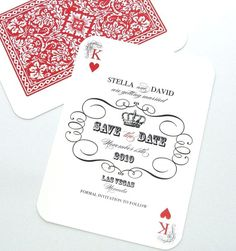 Stella Las Vegas Destination Wedding Save the Date Sample - Playing card, Black, White and Red