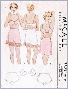 vintage sewing pattern 1930s 30s lingerie bra & tap shorts bust 34 b34 English French