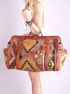 Vtg 70s SOUTHWEST NAVAJO Kilim Leather Weekender BAG | eBay (pricey...I just like the style)