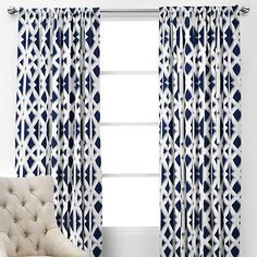 Farmhouse curtains living room navy 20 ideas for 2019 - - FARMHOUSE - - Navy And White Curtains, Navy Curtains, Panel Curtains, Drapery Panels, Sewing Curtains, Blue Pattern Curtains, Roman Curtains, French Curtains, Luxury Curtains