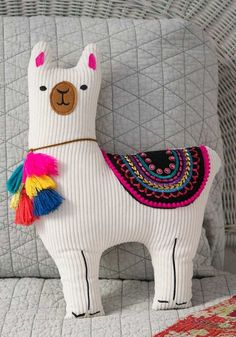 This Natural Life llama happy pillow is embellished with felt patches, embroidery and sequins. Shop Natural Life for boho decorative pillows now! Diy Pillows, Decorative Pillows, Throw Pillows, Cushions, Alpacas, Llama Pillow, Best Baby Gifts, Sewing Toys, Home And Deco