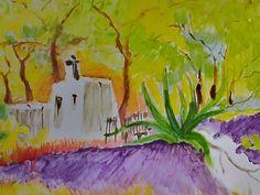 """""""Kapelle in griechischem Urwald"""" gemalt von Schuschnig"""