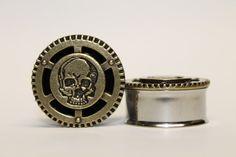 Steampunk Skull Plugs gauges   1 inch 1 1/8 by FromAHobosHandbag, $26.00