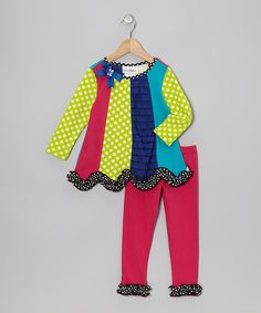 Take a look at this Fuchsia & Lime Panel Tunic & Leggings - Infant, Toddler & Girls on zulily today!