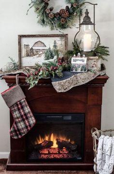 64+ Trendy farmhouse style christmas fireplaces #farmhouse