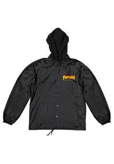 Thrasher Flame-Logo-Coach-Jacket-w/-Fleece-Hood - titus-shop.com  #LightJacket #MenClothing #titus #titusskateshop