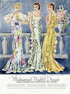 SUMMER NIGHT EVENING GOWNS Fashion Page - 1934 - Ad #McCalls