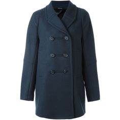 Maison Margiela buttoned pea coat (£1,265) ❤ liked on Polyvore featuring outerwear, coats, blue, pea jacket, pea coat, short double breasted coat, maison margiela and blue coat