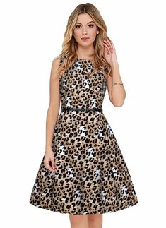 1892bf39fc Buy Women's Black And White Animal Print Crepe Western Dress With Belt  Online at Low prices