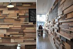 J'adore tous ces morceaux de bois juxtaposés !! Ma future tête de lit ?