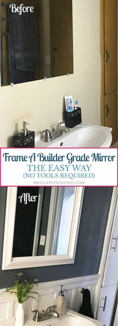 Want an easy way to frame a builder grade mirror? Take a look at how I added a quality, stylish frame to my existing mirror without building from scratch.