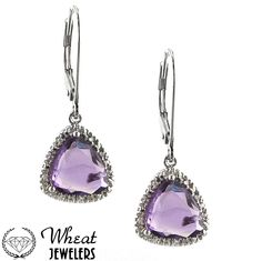 Amethyst and Diamond Dangle Earrings available at Wheat Jewelers