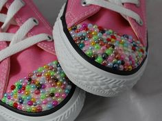Baby/Toddler Bling Pearl Converse Multicolored by CursiveConcepts
