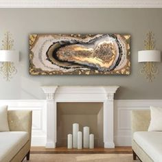 """""""On the bottom of your golden heart"""", geode. Resin and concrete on MDF Board .This is still my Favorite, shown with the wonderful in a room. Golden Heart, Resin Art, All Art, Concrete, Shapes, My Favorite Things, Board, Room, Inspiration"""