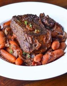 Dinner Recipe: Individual Pot Roasts with Thyme-Glazed Carrots — Recipes from The Kitchn Beef Pot Roast, Pot Roast Recipes, Carrot Recipes, Beef Recipes, Fall Recipes, Yummy Recipes, Recipies, Yummy Food, Best Dinner Party Recipes