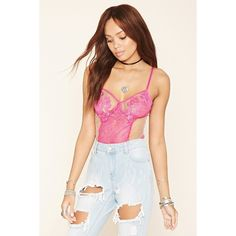 Forever21 Floral Lace Bodysuit ($28) ❤ liked on Polyvore featuring intimates and shapewear