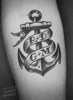 Anchor & Banner Tattoo - Etching Style, via Flickr.