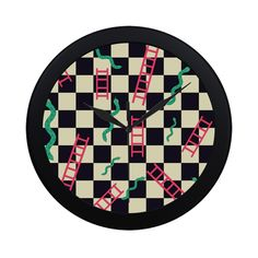 Snakes and Ladders Game Circular Plastic Wall clock Ladders, Snakes, Fun Stuff, Clock, Symbols, Plastic, Wall, Stairs, Fun Things