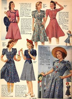 Retro Fashion century fashion history - Here's a summary of fashion history: 1940 - From the clothes, the societal situation to the beauty ideals and The New Look in 1940s Dresses, Vintage Dresses, Vintage Outfits, Vintage Fashion, 1940s Fashion Women, Vintage Clothing, Retro Fashion 50s, 1940s Fashion Dresses, Flapper Dresses