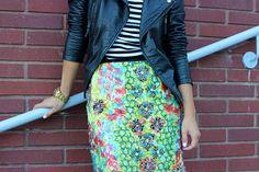 black/white striped tee, multicolor floral skirt, black leather jacket