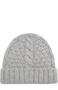Кашемировая шапка фактурной вязки Loro Piana, светло-серого цвета, арт. FAG4690 в ЦУМ | Фото №1