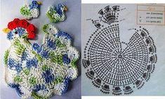 Topflappen häkeln Huhn - crochet potholder - Tita Carré - Agulha e tricot by Tita Carré: Galinha em crochet Beau Crochet, Crochet Birds, Crochet Motifs, Crochet Chart, Crochet Stitches Patterns, Easter Crochet, Crochet Diagram, Crochet Designs, Free Crochet