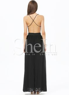 Black V-neck Spaghetti Straps Backless Maxi Dress