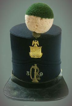 Colonel John D. Shaul's  Shako, Military Hat, 1851-1862, Horstmann Brothers and Allien, wool, leather, brass, H6.5 in x W:6.5 in. Fenimore Art Museum, Cooperstown, New York