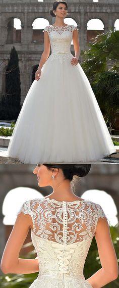 NEW! Fantastic Tulle Jewel Neckline Natural Waistline A-line Wedding Dress With Lace Appliques & Belt & Bowknot
