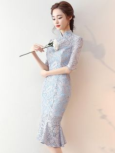 Blue Lace Pep Hem Qipao / Cheongsam Dress with Half Sleeve
